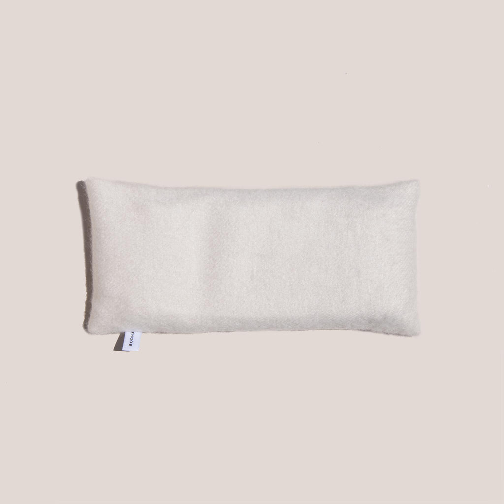 Bodha - Aromatherapy Cashmere Eye Pillow - Cream, aerial view, available at LCD.