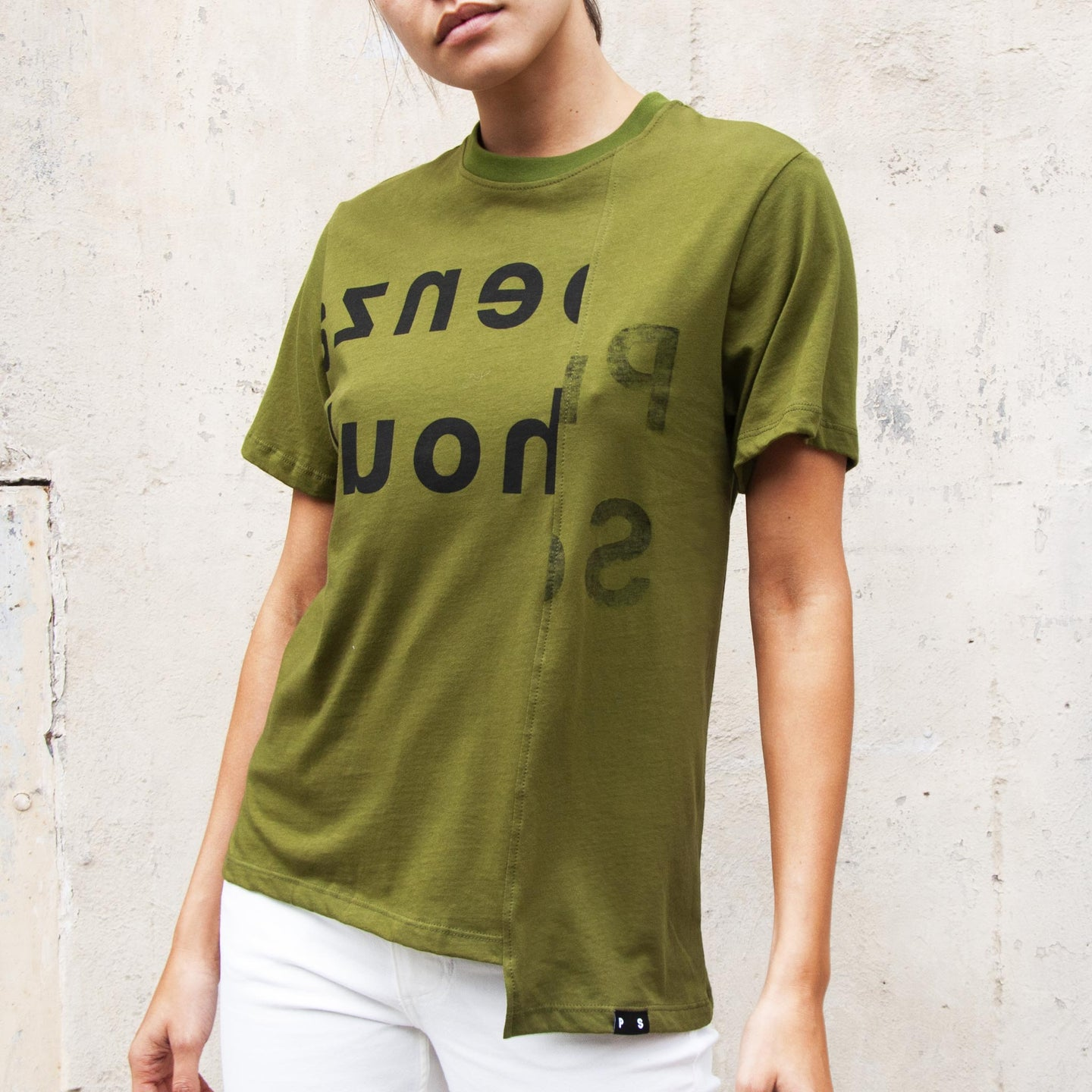 Proenza Schouler White Label - Asymmetrical Tee, front view, available at LCD.