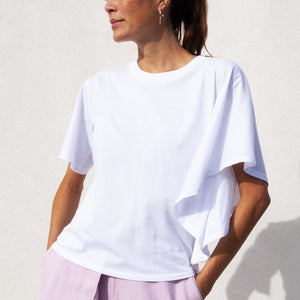 Aalto - Asymmetrical T-Shirt - White, available at LCD