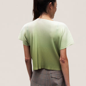 Pleats Please - Aurora Mist Boxy Tee, back view, available at LCD.