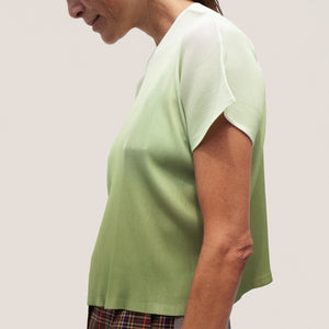 Pleats Please - Aurora Mist Boxy Tee, side view, available at LCD.