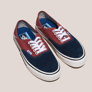 Vans - Authentic SF Salt Wash - Dress Blues and Burnt Brick, angled view, available at LCD.