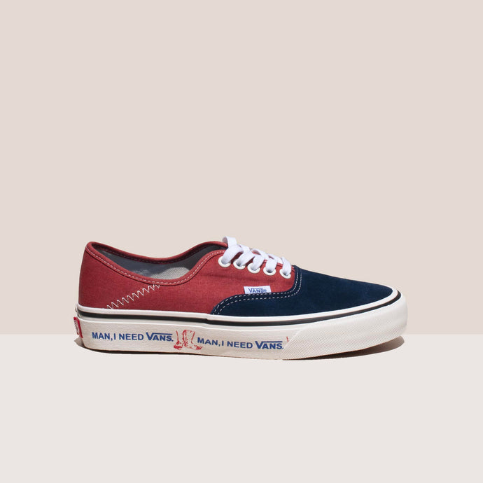 Vans - Authentic SF Salt Wash - Dress Blues and Burnt Brick, side view, available at LCD.