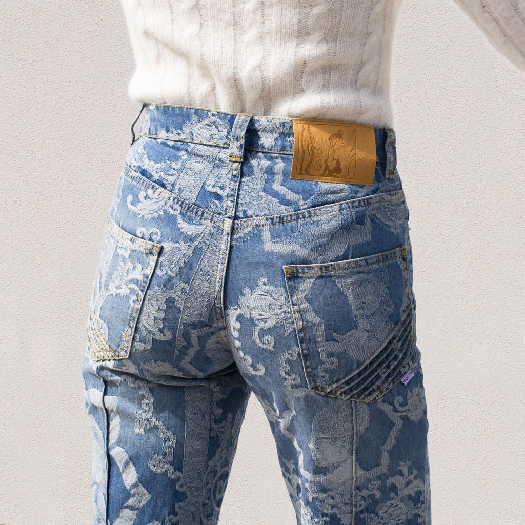 Martine Rose - Avalon Jean in Jacquard Vintage, view of back pocket detail.