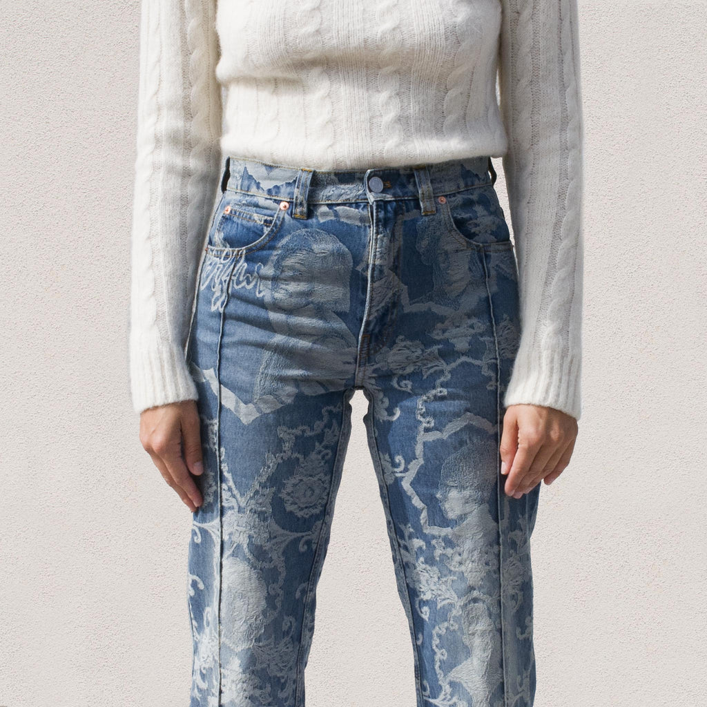 Martine Rose - Avalon Jean in Jacquard Vintage, view of jacquard print detail.