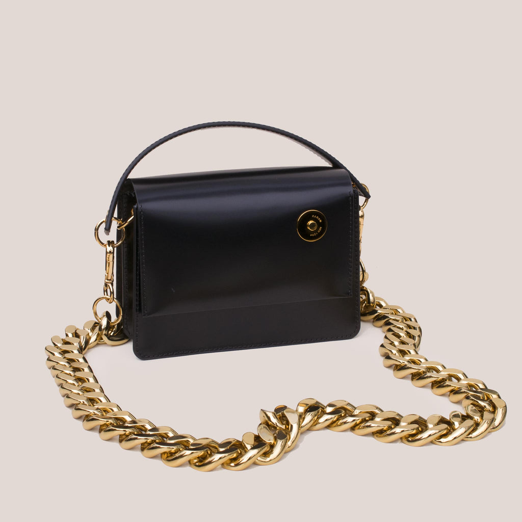 Kara - Baby Pinch Shoulder Bag with Gold Chain, angled view.