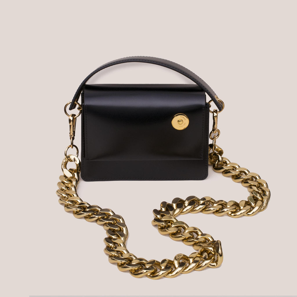 Kara - Baby Pinch Shoulder Bag with Gold Chain, front view.