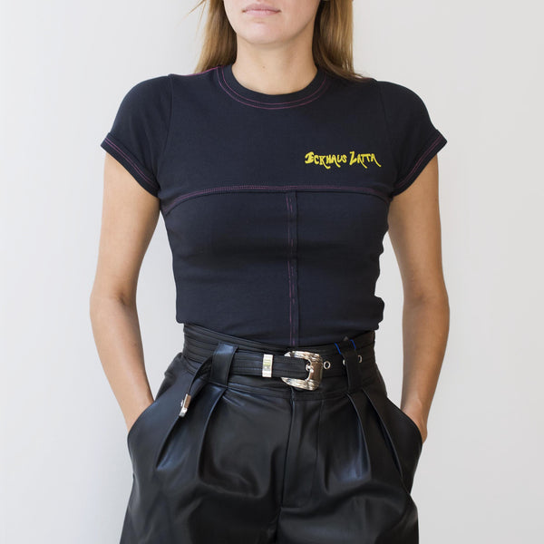 Eckhaus Latta - Lapped Baby Tee - Novel Limo, front view, available at LCD.