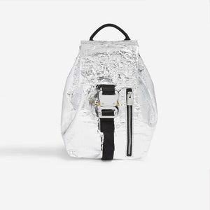 1017 Alyx 9SM - Baby-X Backpack - Silver, front view, available at LCD.