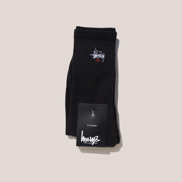 Stussy - Basic Logo Crew Socks in Black.
