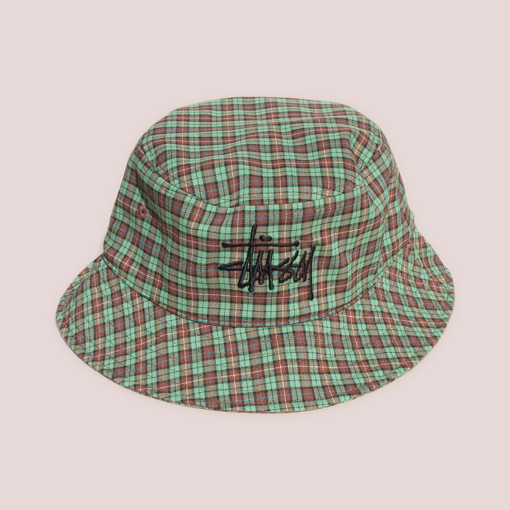 Stussy - Basic Plaid Bucket Hat - Green, front view.
