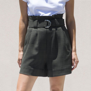 Ganni - Belted Shorts - Kalamata Suiting, front view, available at LCD.