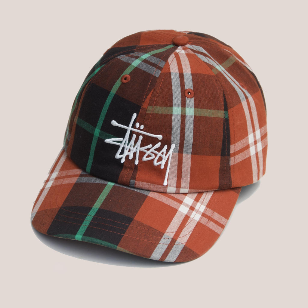 Stussy - Big Logo Madras Plaid Low Pro Cap - Orange, angled view, available at LCD.