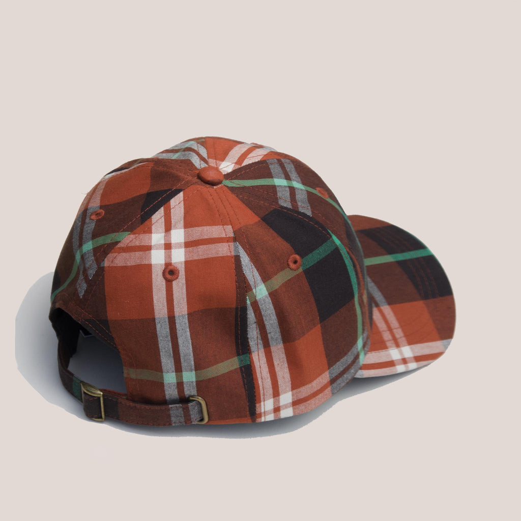 Stussy - Big Logo Madras Plaid Low Pro Cap - Orange, back view, available at LCD.