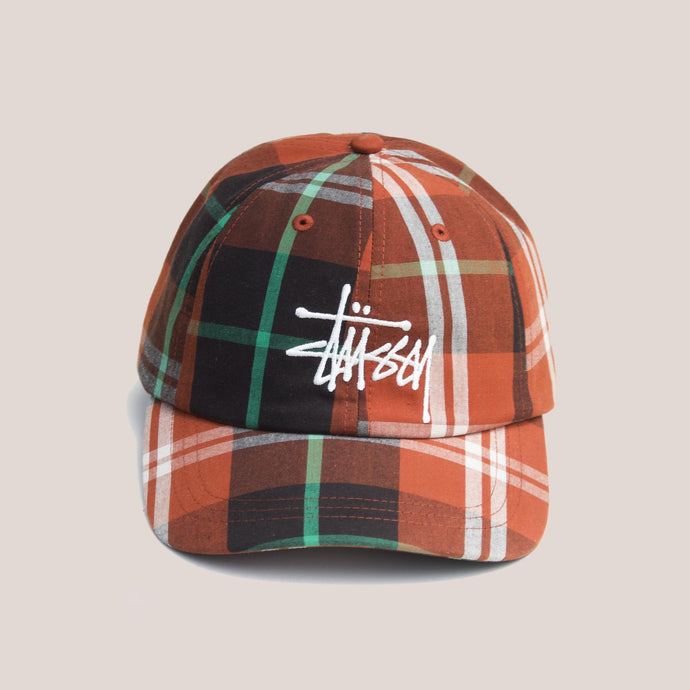 Stussy - Big Logo Madras Plaid Low Pro Cap - Orange, front view, available at LCD.