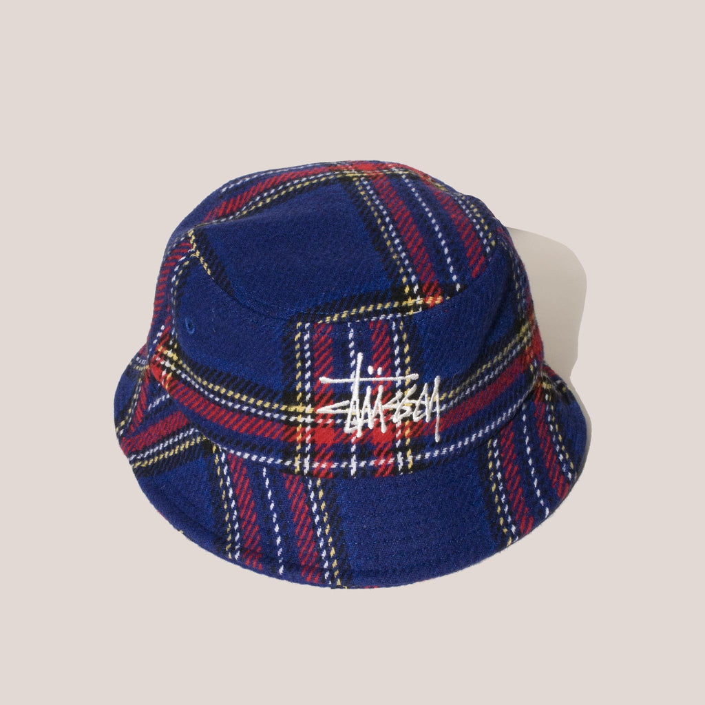 Stussy - Big Logo Plaid Bucket Hat - Blue.