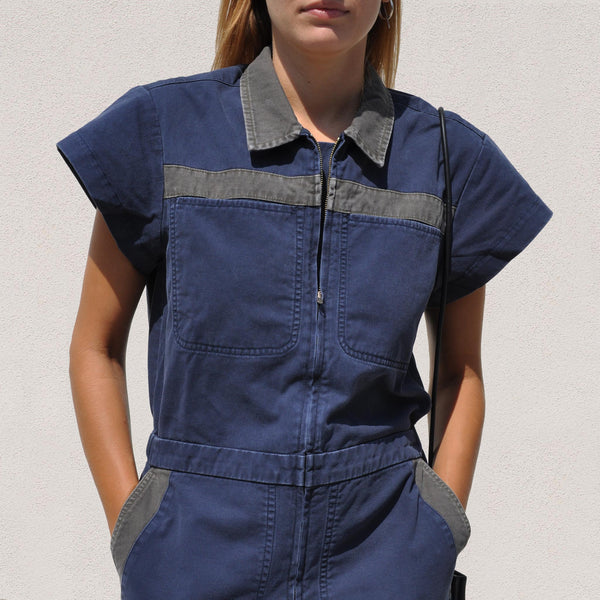 Rachel Comey - Birch Jumpsuit - Midnight, front detail, available at LCD.