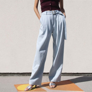 Sies Marjan - Blanche Wide Leg Pant - Light Wash Denim, front view, available at LCD.