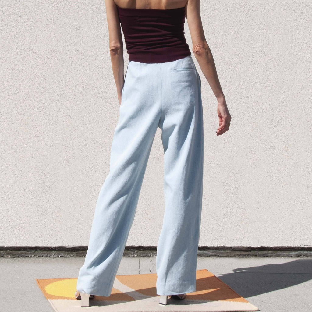 Sies Marjan - Blanche Wide Leg Pant - Light Wash Denim, back view, available at LCD.