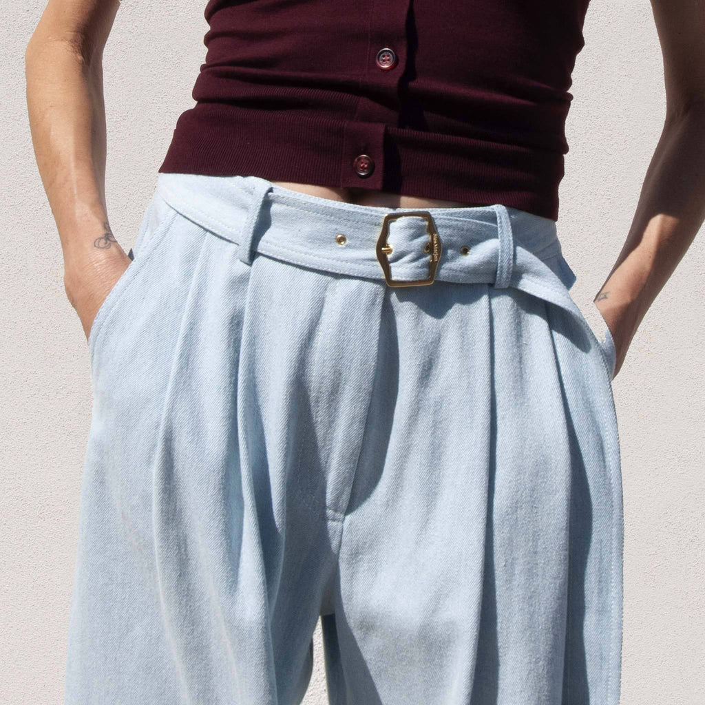 Sies Marjan - Blanche Wide Leg Pant - Light Wash Denim, front detail, available at LCD.
