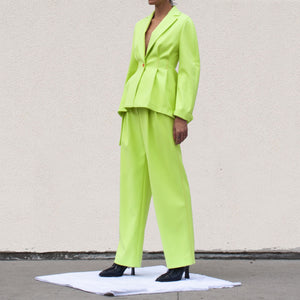 Sies Marjan - Blanche Wide Leg Pant - Fluo Yellow, angled view, available at LCD.