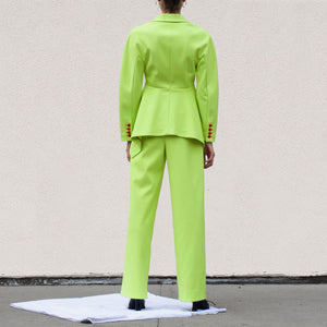 Sies Marjan - Blanche Wide Leg Pant - Fluo Yellow, back view, available at LCD.