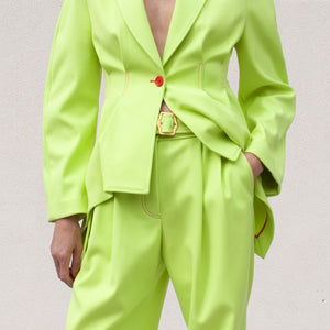 Sies Marjan - Blanche Wide Leg Pant - Fluo Yellow, detail view, available at LCD.