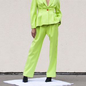 Sies Marjan - Blanche Wide Leg Pant - Fluo Yellow, front view, available at LCD.