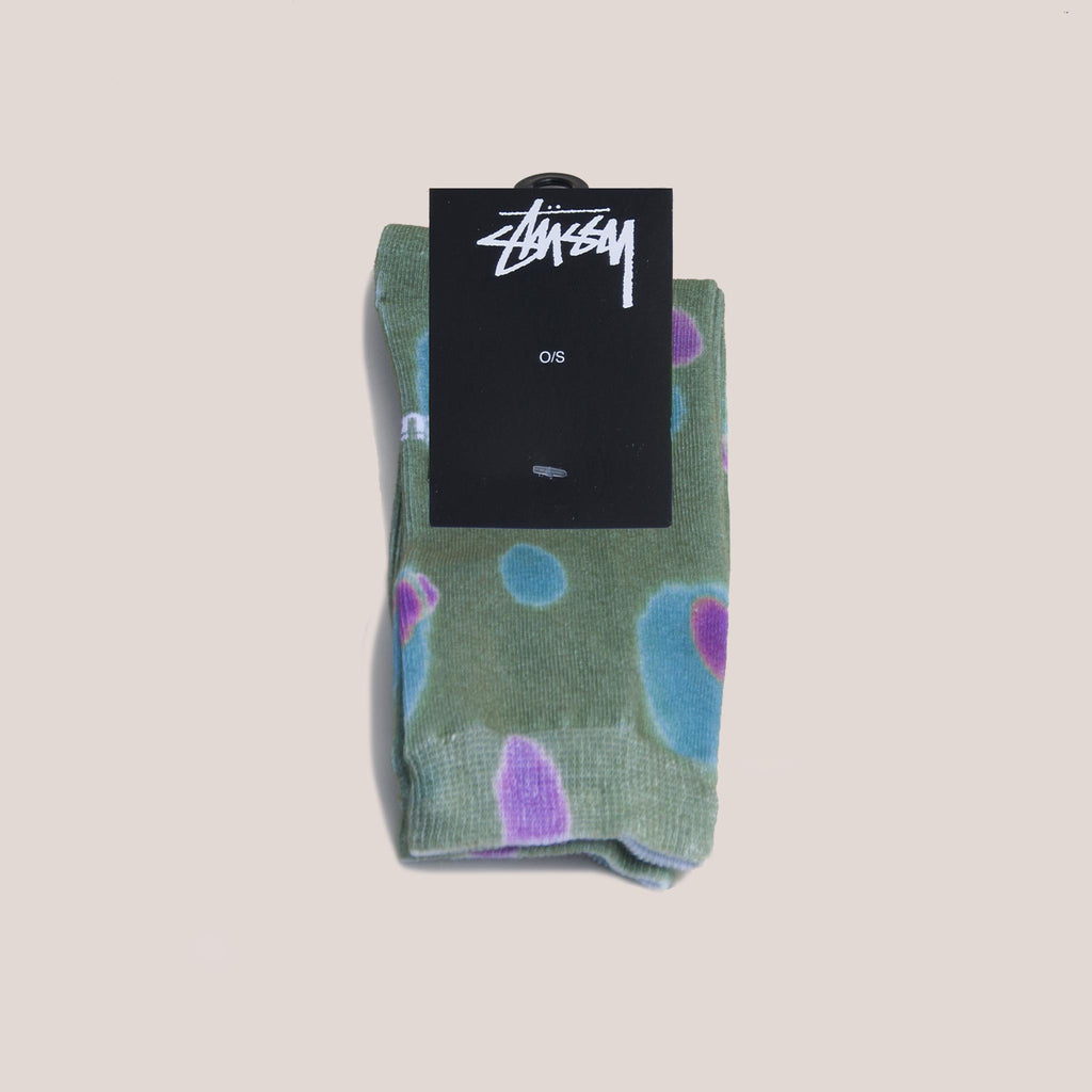 Stussy - Blob Everyday Socks - Olive, available at LCD.