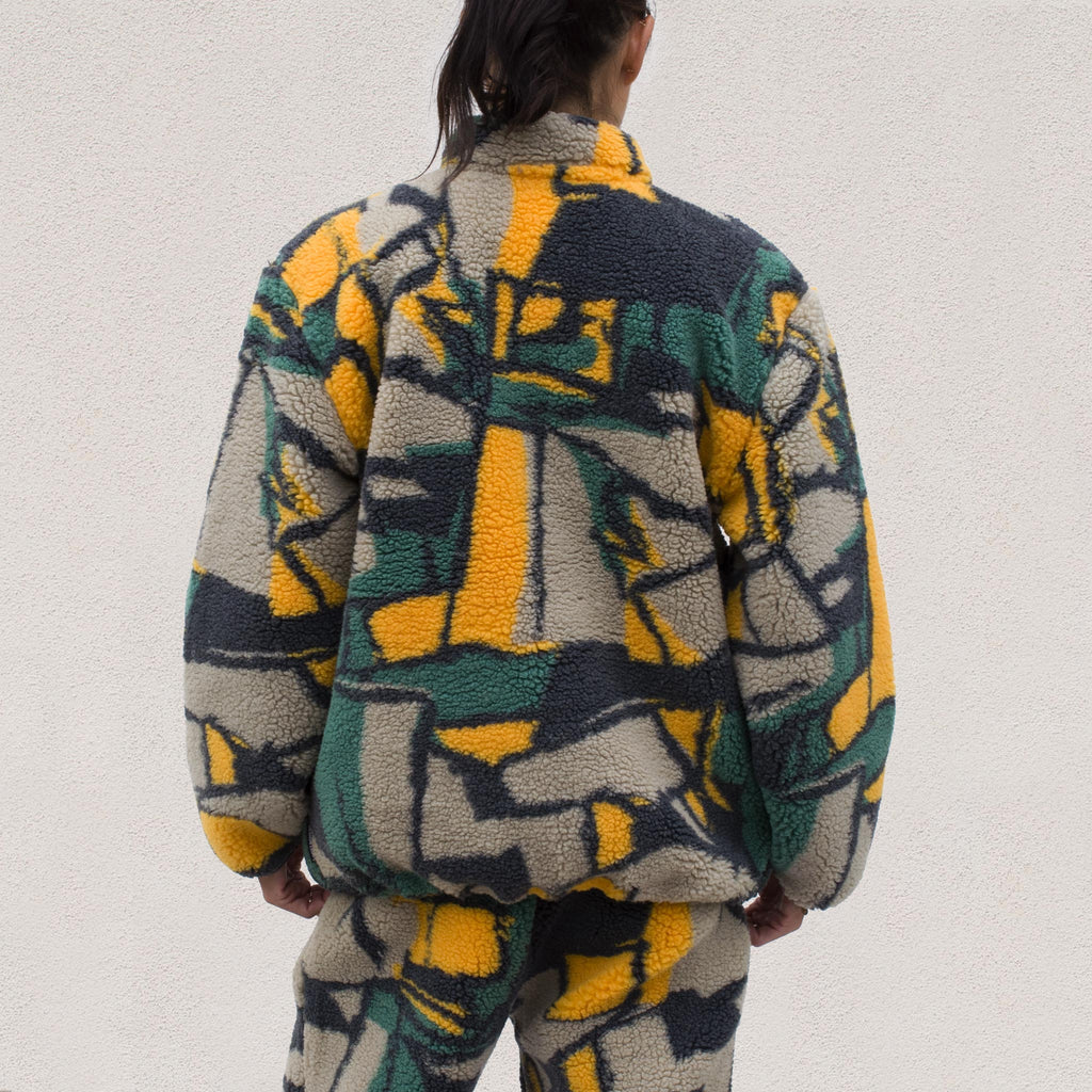 Stussy - Block Sherpa Pullover - Multi, back view.