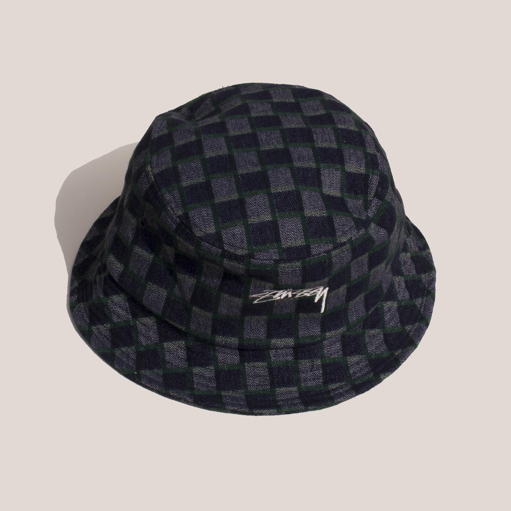 Stussy - Brent Check Wool Bucket Hat - Green, aerial view.