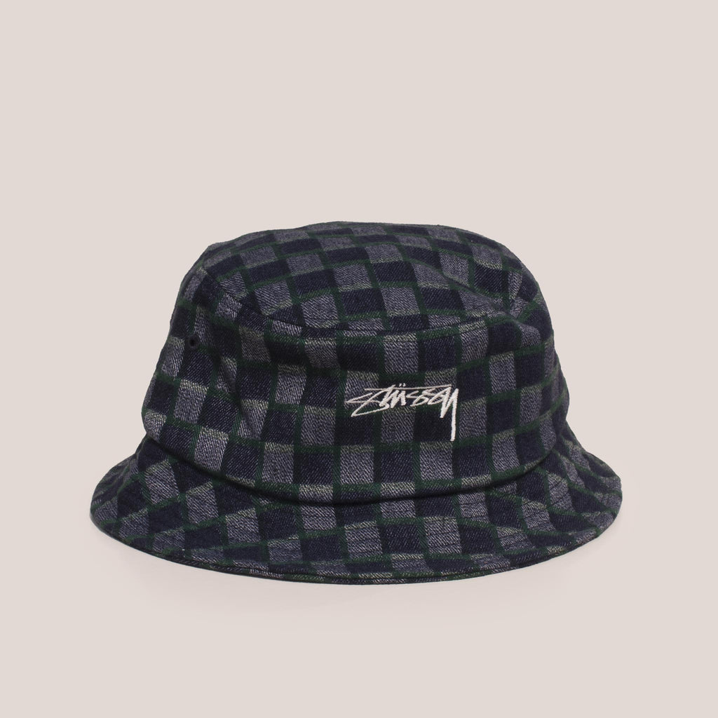 Stussy - Brent Check Wool Bucket Hat - Green, angled view.