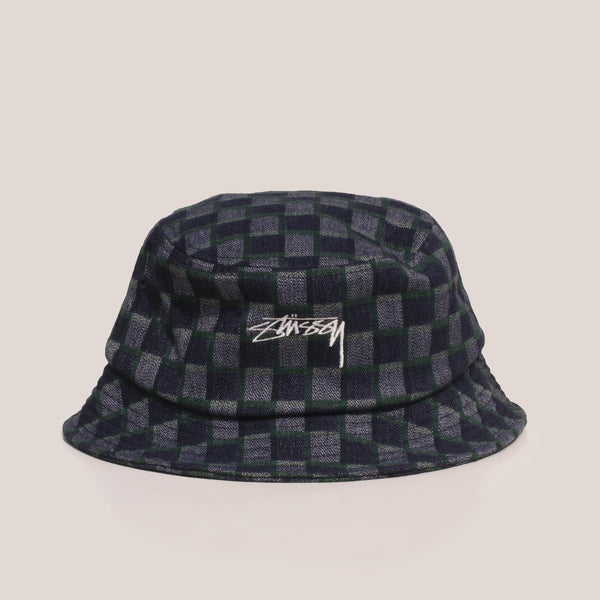 Stussy - Brent Check Wool Bucket Hat - Green, front view.