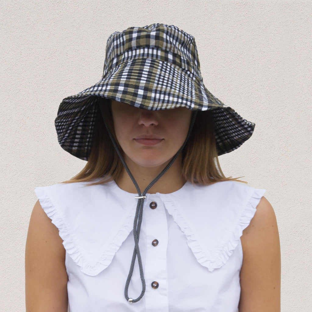 Ganni - Bucket Hat with Tie - Kalamata Check, front view, available at LCD.