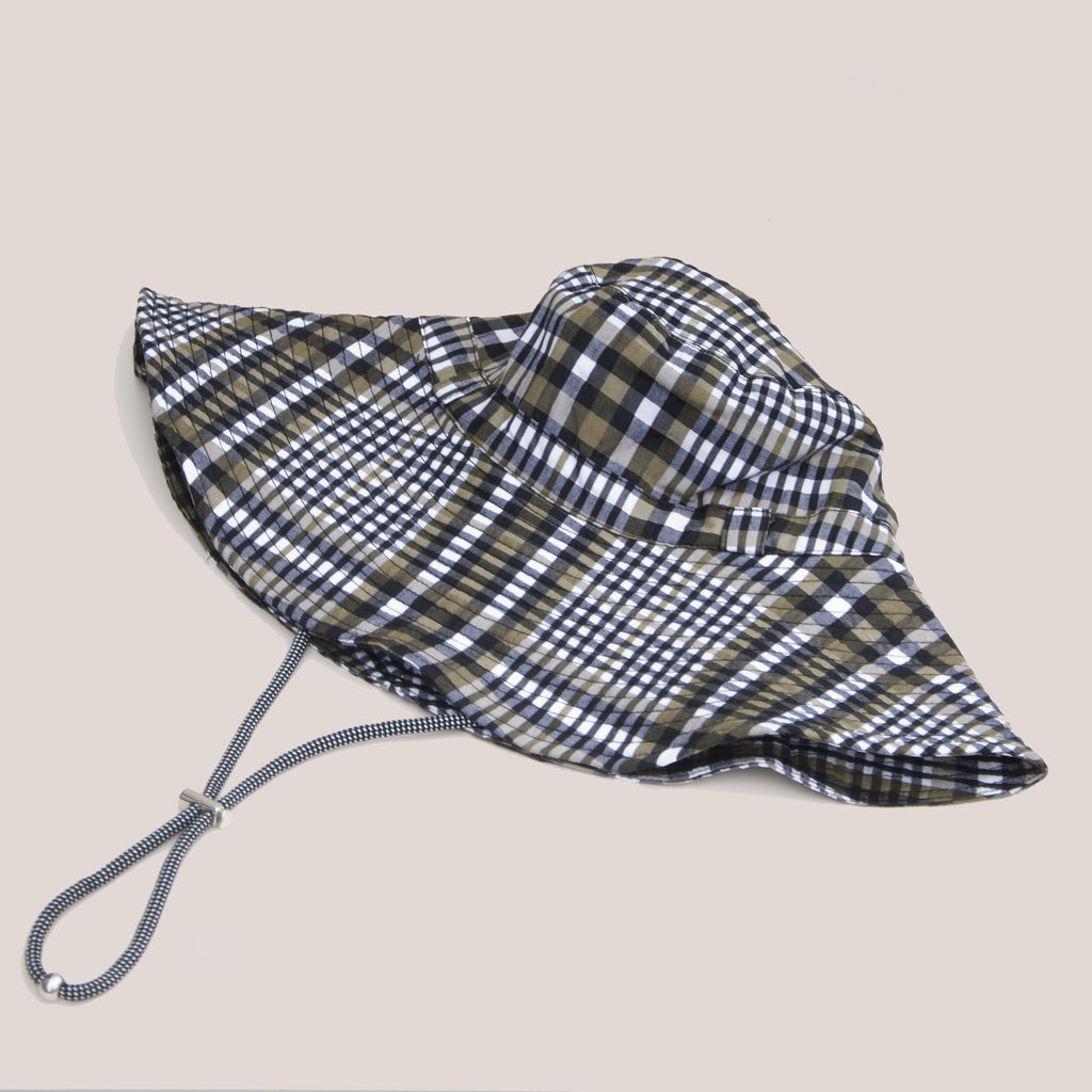 Ganni - Bucket Hat with Tie - Kalamata Check, available at LCD.