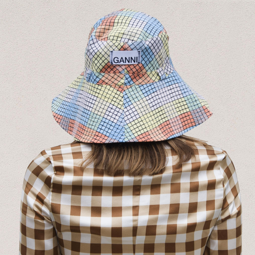 Ganni - Bucket Hat with Tie - Seersucker Multi Check, back view, available at LCD.