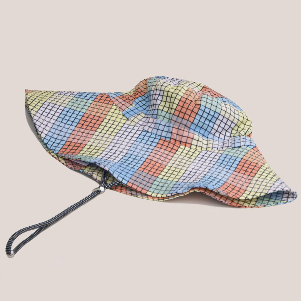 Ganni - Bucket Hat with Tie - Seersucker Multi Check, angled view, available at LCD.