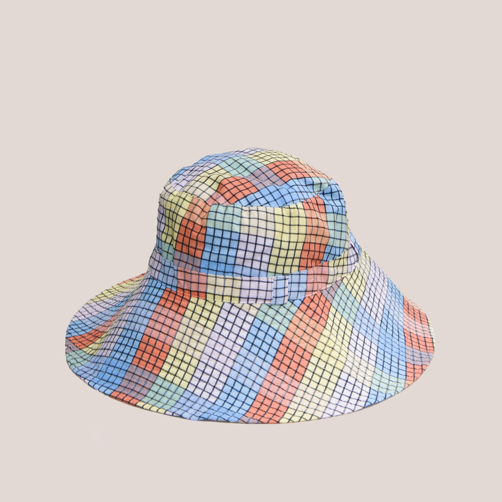 Ganni - Bucket Hat with Tie - Seersucker Multi Check, front view, available at LCD.