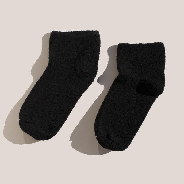 Baserange - Buckle Ankle Socks in Black, pictured as a pair.