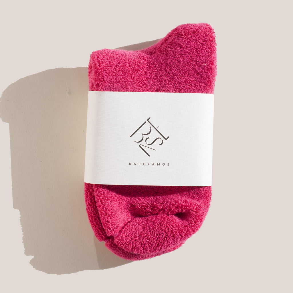 Baserange - Buckle Ankle Socks in Calico Pink, in packaging.