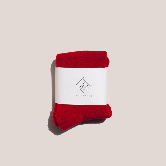 Baserange - Buckle Ankle Socks - Simin Red, front view, available at LCD.