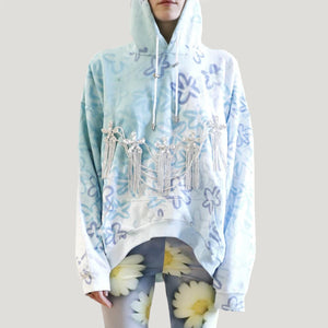 Collina Strada - Bunny Floral Runway Hoodie, front view, available at LCD.