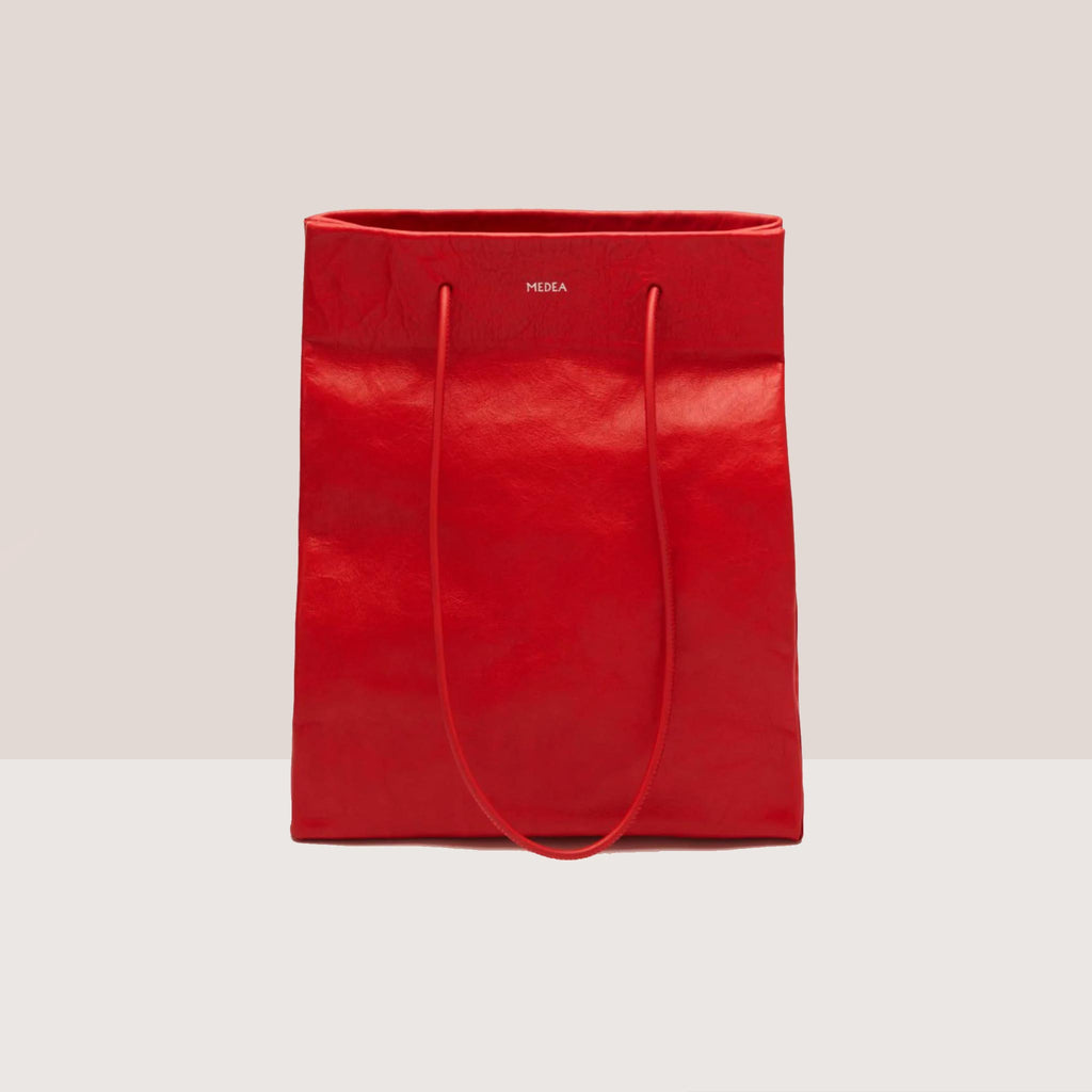 Medea - Tall Busted Bag - Red, front view, available at LCD.