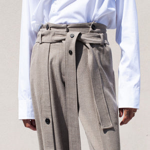 Delada - Button Front Wide Leg Trouser, front detail view, available at LCD.