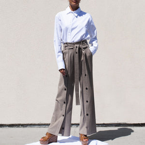 Delada - Button Front Wide Leg Trouser, front view, available at LCD.