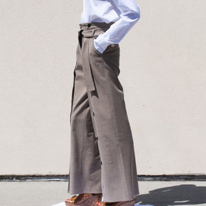 Delada - Button Front Wide Leg Trouser, side view, available at LCD.