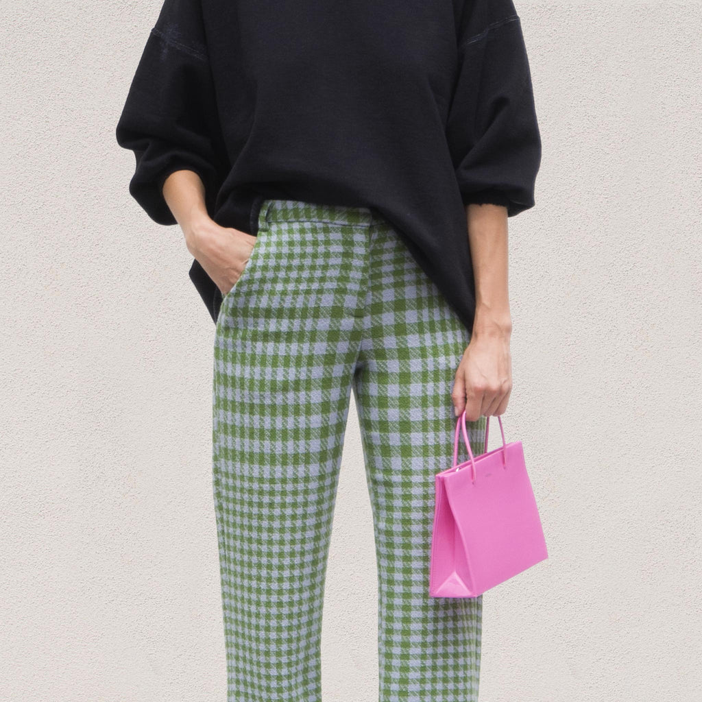 Maryam Nassir Zadeh - Cape Trousers - Sea Plaid, front detail, available at LCD.