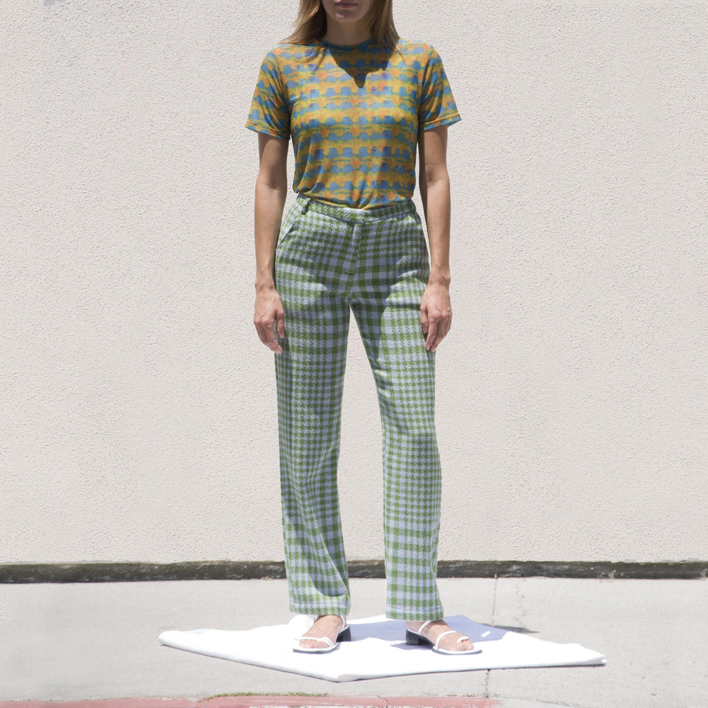 Maryam Nassir Zadeh - Cape Trousers - Sea Plaid, front view, available at LCD.