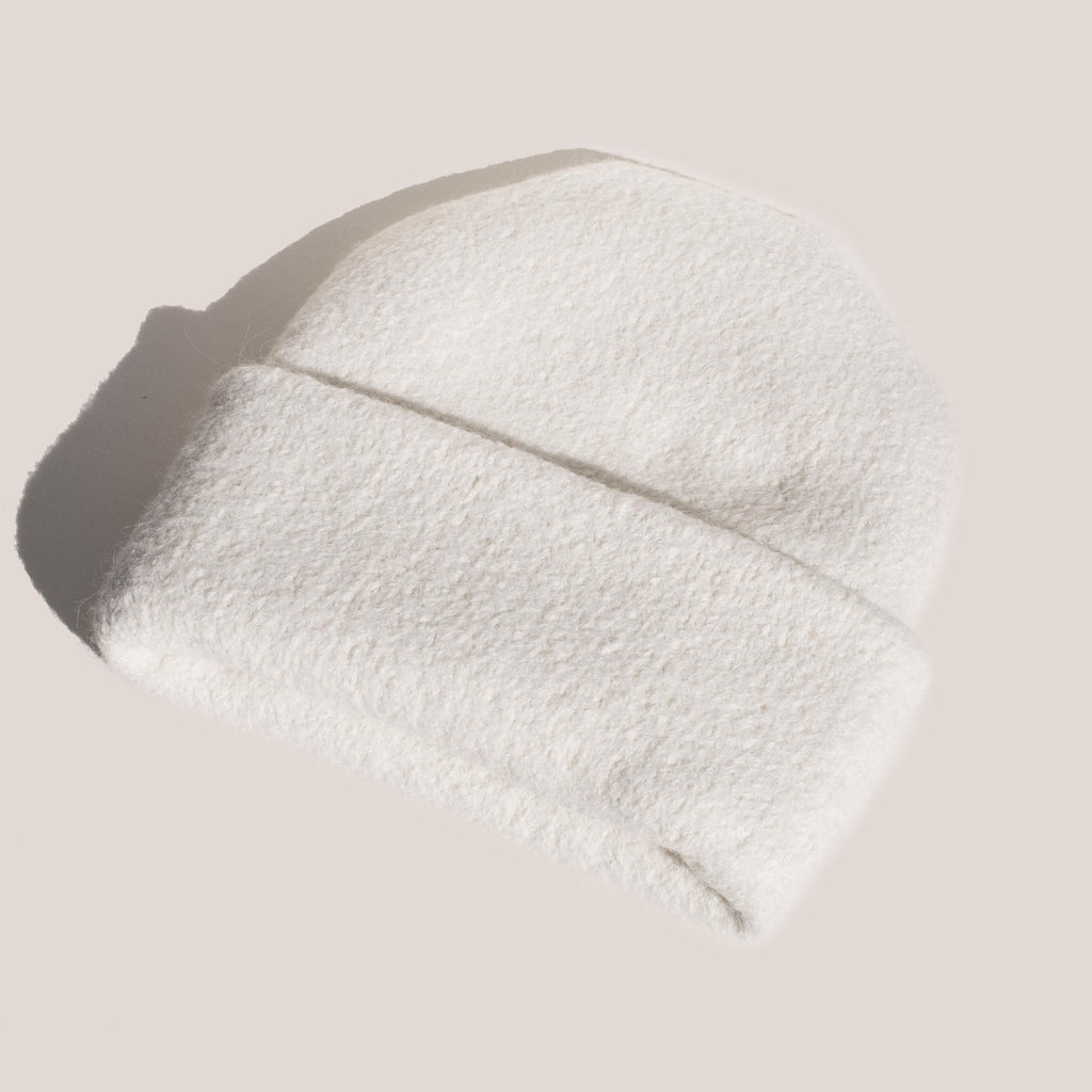 Lauren Manoogian - Carpenter Hat - White, angled view.