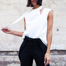 Load image into Gallery viewer, Tibi - Chalky Drape Sleeveless Pleat Tie Top, available at LCD.